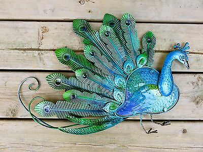 Peacock Wall Plaque Metal Feathers Fusion Glass Body Home Decor 20.9X14 New