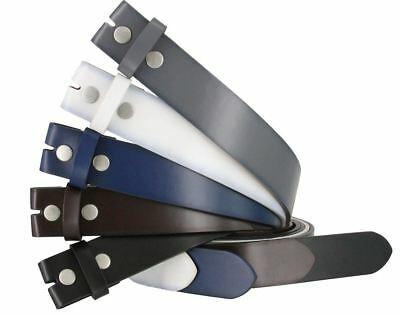 "SnapOn Genuine Leather Casual Belt Strap 1-1/2"" Wide Black Brown Navy Gray White"