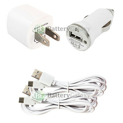 2 USB 6FT Type C Cable Cord+Car+Wall Charger for Phone LG G5 G6 /Google Nexus 5X