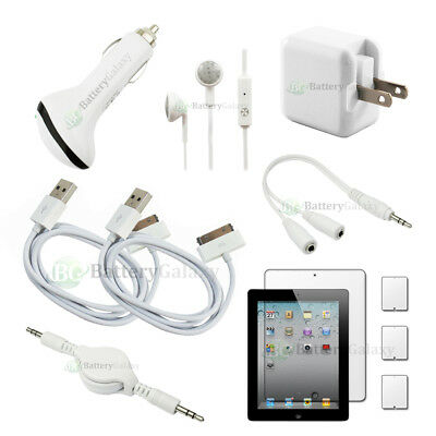 "10pc 2X USB Cable Cord+2X FAST Charger+Headset for Apple iPad 2 10.1"" 200+SOLD"