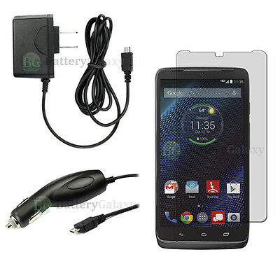 NEW Wall+Car Charger+LCD Screen Protector for Android Phone Motorola Droid Turbo