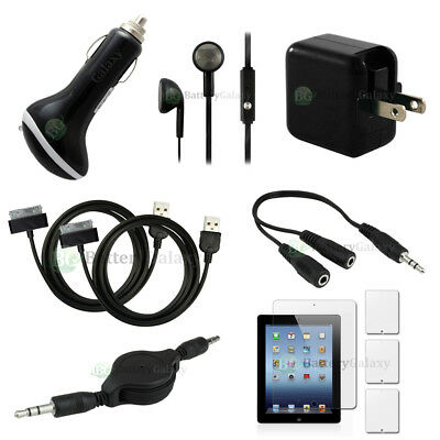 10pc 2X USB Cable+2X FAST Charger+3X LCD Screen Protector for Apple iPad 3 9.7""