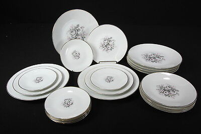 Lorenz Hutschenreuther Germany 21 Porcelain Plates Gray Pink Floral 3 Szs Unused