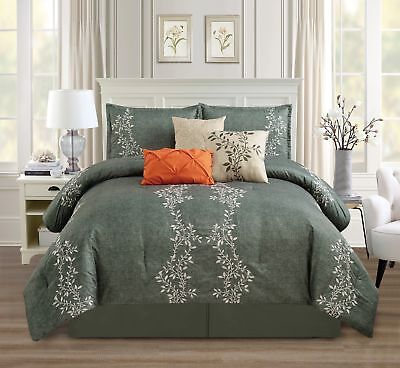 Chezmoi Collection 7pc Charcoal Gray Vine Leaf Embroidery Comforter Set Cal King