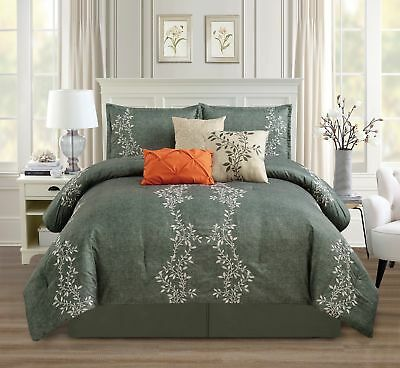 Chezmoi Collection 7pc Charcoal Gray Vine Leaf Embroidery Comforter Set, Queen