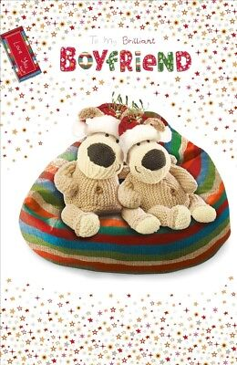 Boofle Boyfriend Embellished Christmas Greeting Card Foiled Xmas Cards
