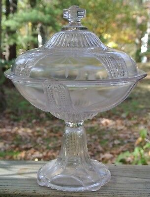 Antique Curtain Tie Back Lidded Compote Early American Pattern Glass Adams & Co
