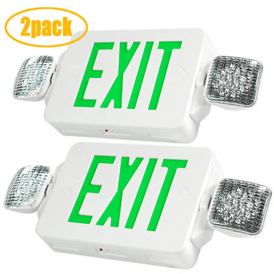 2 x LED Exit Sign & Emergency Lighting Green Compact Double head Combo UL 924