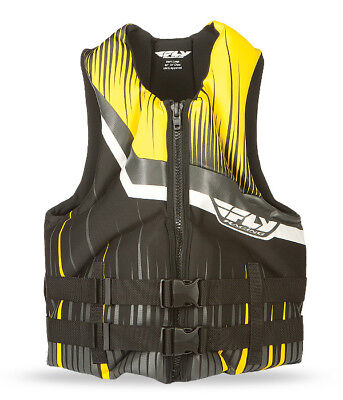 Fly Racing ADULT Neoprene Life Jacket Black/Yellow Vest XS Extra Small