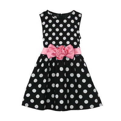 Fashion Toddler Kids Baby Girl Summer Polka Dot Sleeveles Pageant Princess Dress