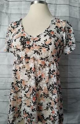 Torrid 0X Plus Size Fall Floral Romantic White Black Lace Coral Layer Lace Top