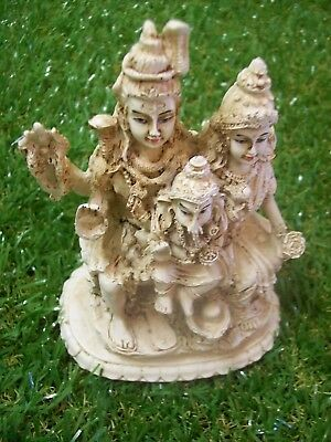 Shiva family - Shiva, Pavarti and Ganesha - 120mm tall