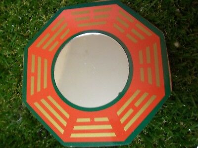 Bagwa Mirror, red gold & green,  100mm  bw023