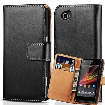 Black Luxury Premium Leather Flip Case Wallet Stand Cover For Sony Xperia Phones
