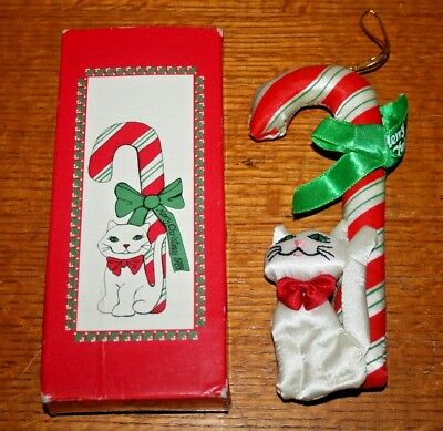 NOS 1989 RUSS/FANCY FEAST Kitty Cat Stuffed Ornament w Candy Cane & Ribbon