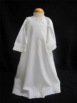 ANTIQUE EDWARDIAN EMBROIDERED WHITEWORK COTTON & LACE BABY DRESS GOWN c1910