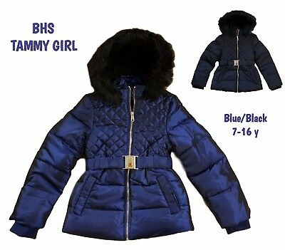 BHS Girls Coat Jacket Winter Quilted Hooded Rain Warm School Fleece Lined BNWT