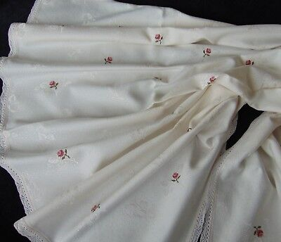 Vintage Immaculate Cream Cotton Damask Hand Embroidered Roses Tablecloth 164X136