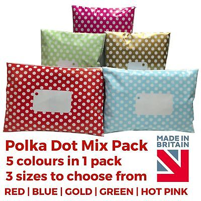 MIX PACK - Polka Dot Mailing Bags Printed Post Poly Plastic Coloured Strong Seal