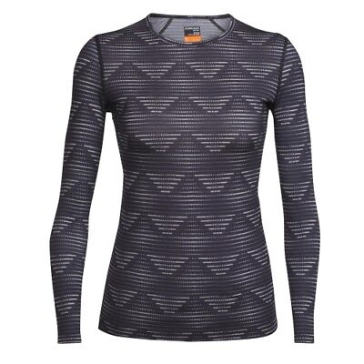 Icebreaker Oasis LS Crewe Diamond Line women blizzard heather/black Marino Damen