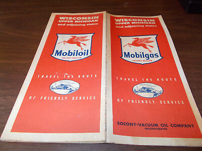 1948 Mobil Wisconsin Vintage Road Map
