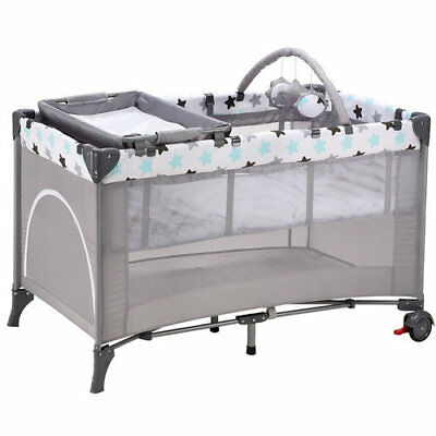 BABY-PLUS Multifunktionales Reisebett Center Lucca Grey Stars