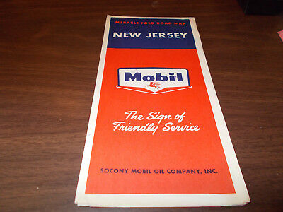 1958 Mobil New Jersey Vintage Road Map