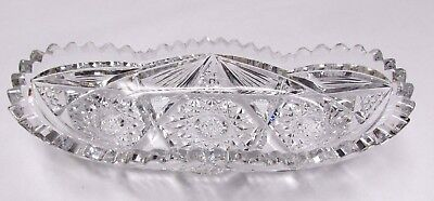 "Beautiful Vintage Pickle Dish 8"" Tray Hex Accent Cut Glass"