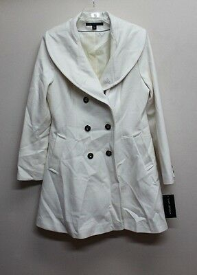 NEW Via Spiga Women's Double-Breasted Wool-Blend Skating Coat Winter White sz 12