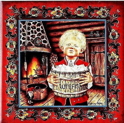 "Norwegian Trivet Tile  ""Lutefisk Boy""  by Suzanne Toftey  6"" x 6""  Cork Backing"