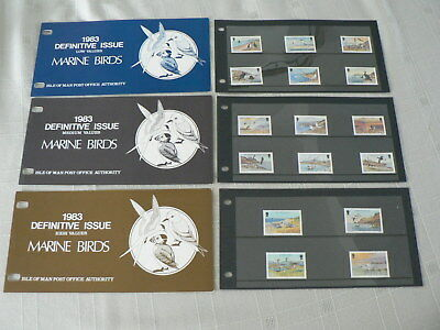 1983 Isle of Man Birds Definitive Issues, 3 x Presentation Packs, MNH, Mint