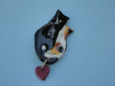 Cat Pin, Ceramic, Two Cats W Heart