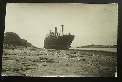 Postcard Real Photo, Early Ship Beached : Probably South Wales (See Description)
