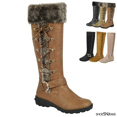 New Women Mid-Calf Snow Winter Warm Fur Lined Boots Side Lace Up Zipper Shoes