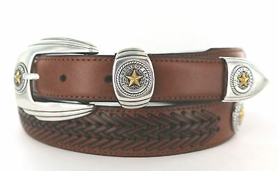 BL032 Texas State Gold Star Seal Western Leather Dress Concho Belt