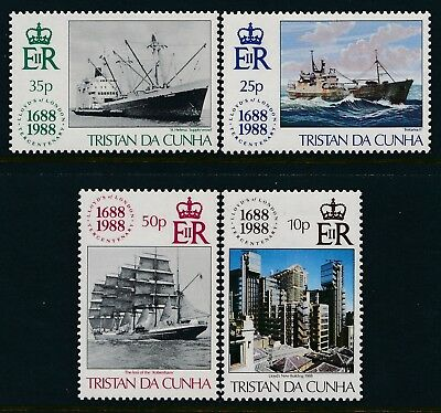 1988 TRISTAN DA CUNHA LLOYDS OF LONDON 300th ANNIVERSARY SET OF 4 FINE MINT MNH