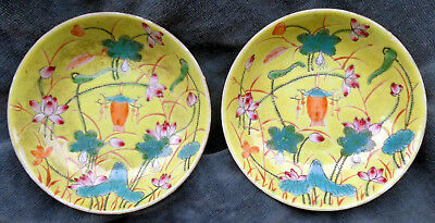 CINA (China): Pair of fine and old Chinese porcelain mini saucer or bowl