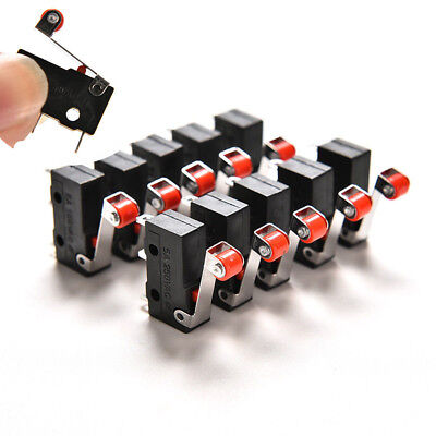 Micro Roller Lever Arm Open Close 10Pcs Limit Switch KW12-3 PCB Microswitch U