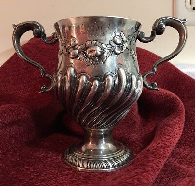 Dublin Ingland Solid Sterling Silver Heavy Goblet Mid 1700's 412Grams Marked RT