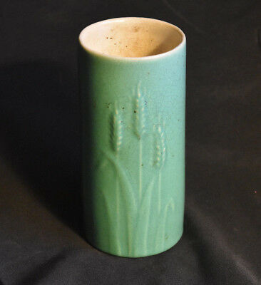 Rosemeade Pottery North Dakota Wheat Vase Cylindrical Bluish Green Vintage