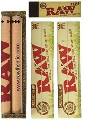 Raw King Size Size Slim Organic Hemp Rolling KIT - Papers, tips, 110mm Roller