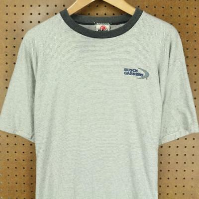 a9ea04ab11 vtg usa made 90's BUSCH GARDENS t-shirt XL surfer stripes ringer vaporwave  faded