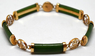 Chinese 14K Solid Gold and Untreated Natural Spinach Green Jade Bracelet