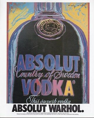 """Vintage Absolut Vodka Ad -""""absolut Warhol -Extra Ads Purchased Ship For   Free!"""
