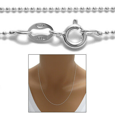 925 Sterling Silver Delightful Bead Chain Necklace 1mm (100 Gauge)