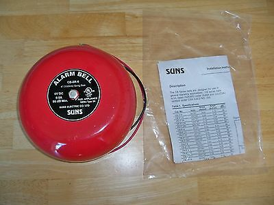 "SUNS -- ALARM BELL -- CB-6R-6 -- 6V DC   -- 6"" Red Gong --  New Loose"