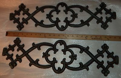 Salvage Rustic Cast Iron Scroll Architectural  Victorian Style  Set of 2