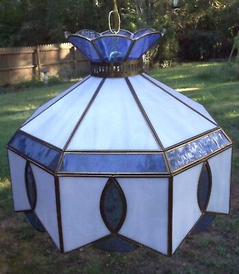LARGE Vintage Tiffany Style Blue & White leaded  Stained Glass Hanging Light