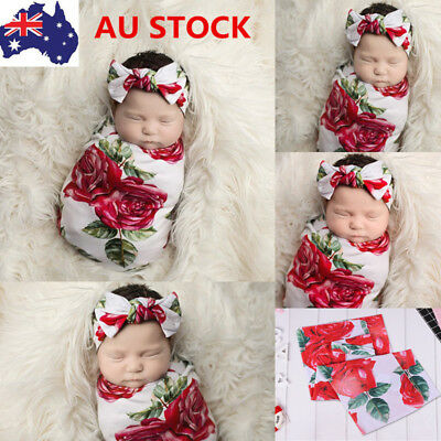 Infant Baby Floral Blanket Swaddle Wrapping Newborn Sleeping Bag+Headband Set