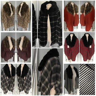 Ladies hand made faux fur houndstooth check tartan wool cape shawl wrap